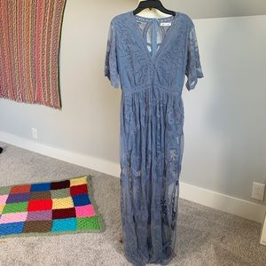 Dusty Blue as you wish embroidered lace maxi dress
